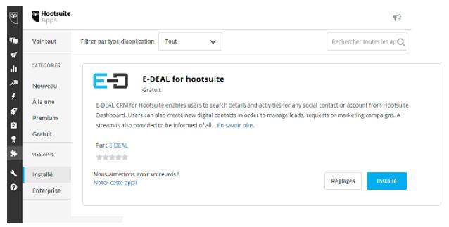 Vérifier que l'application E-DEAL for Hootsuite est bien affichée.