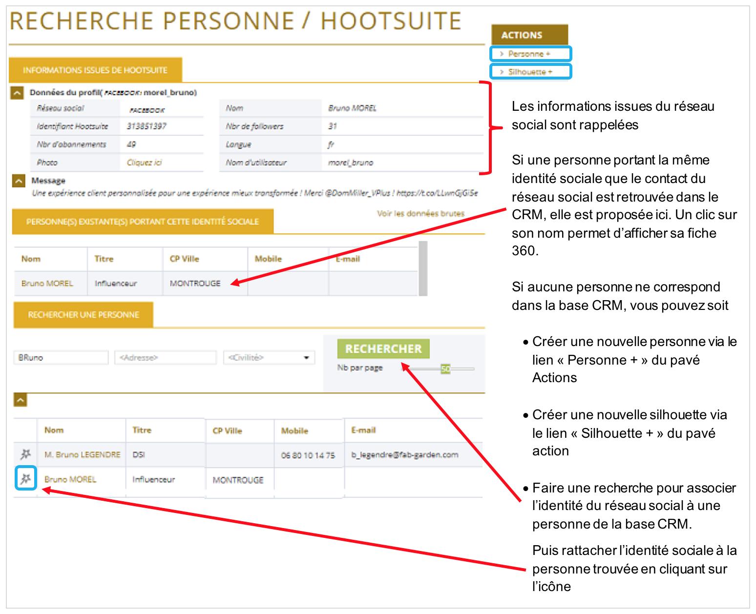 La page de recherche de personnes à partir de données du contact Hootsuite s'affiche dans E-DEAL CRM.