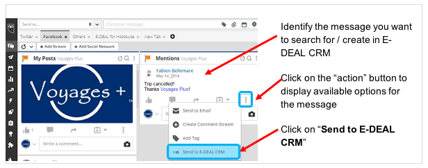 To search a contact in E-DEAL CRM from a Hootsuite conversation