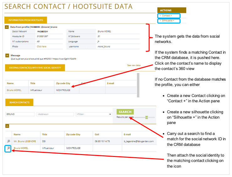 The Contacts search page based on Hootsuite data is displayed in E-DEAL CRM