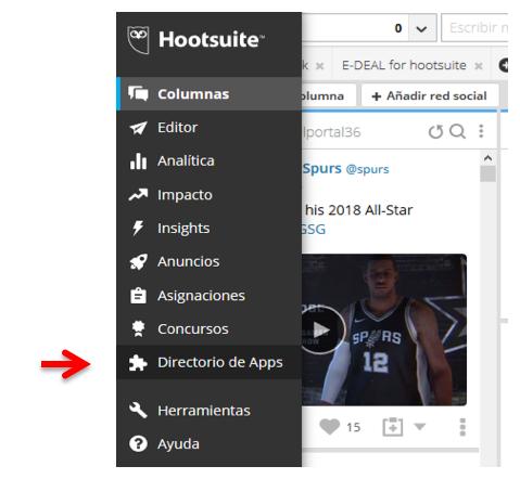 """ En el menú de navegación Hootsuite, ve a """"Directorio de Apps"""""""