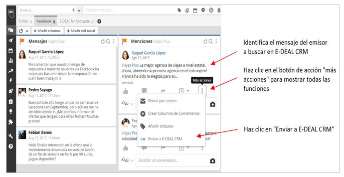 Para buscar a una persona en E-DEAL CRM desde una conversación de Hootsuite