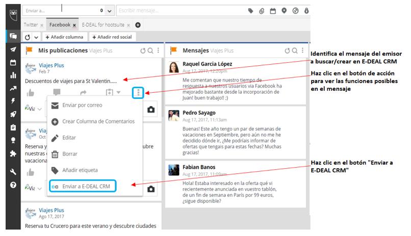Creación de un contacto digital desde Hootsuite