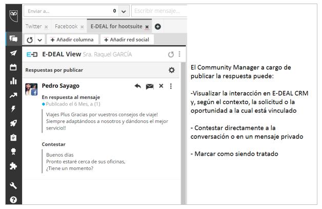 """La función de """"respuesta"""" disponible en cada interacción de la interacción E-DEAL View"""