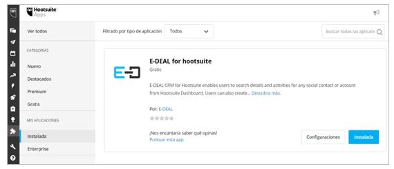 Verifica que la aplicación E-DEAL CRM for Hootsuite aparece bien